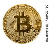 Golden Bitcoin Coin Isolated O...
