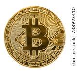 Golden Bitcoin Coin Isolated O...