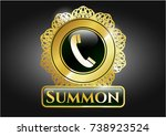 gold badge with old phone icon ... | Shutterstock .eps vector #738923524