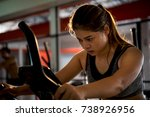 beautiful woman exercising on a ... | Shutterstock . vector #738926956
