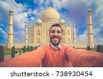 tourism in india. handsome... | Shutterstock . vector #738930454