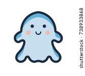 cute ghost vector flat line... | Shutterstock .eps vector #738933868