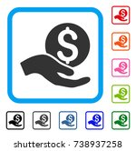 money donation icon. flat gray... | Shutterstock .eps vector #738937258