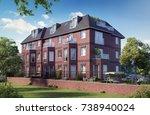townhouse in london  3d render  ... | Shutterstock . vector #738940024