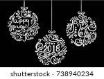 christmas balls merry christmas ...   Shutterstock .eps vector #738940234