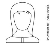 girl avatar icon. thin line...