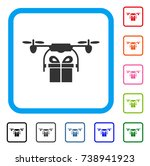drone gift delivery icon. flat...