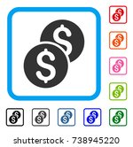 coins icon. flat grey pictogram ...