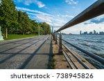 hudson river park walkway along ...   Shutterstock . vector #738945826