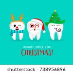 set of christmas tooth... | Shutterstock .eps vector #738956896