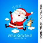 santa claus jumping with...   Shutterstock .eps vector #738960508