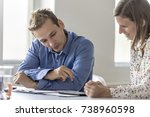 two work colleagues  a young...   Shutterstock . vector #738960598