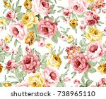 rose colorful floral pattern | Shutterstock . vector #738965110