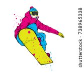 a snowboarder in colorful...   Shutterstock .eps vector #738965338