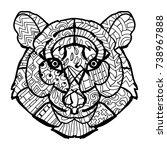 hand drawn doodle outline tiger