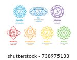 chakras system of human body  ... | Shutterstock .eps vector #738975133