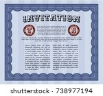 blue invitation template. with... | Shutterstock .eps vector #738977194