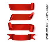 red ribbons. set. realistic.... | Shutterstock .eps vector #738986830