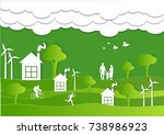 paper art carving of family and ... | Shutterstock .eps vector #738986923