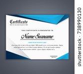 blue certificate template in... | Shutterstock .eps vector #738990130