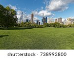 sheep meadow and buildings in... | Shutterstock . vector #738992800