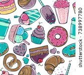 seamless pattern with candy ... | Shutterstock .eps vector #738997780