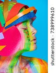 model with colorful abstract...   Shutterstock . vector #738999610