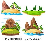four islands on white background | Shutterstock .eps vector #739016119