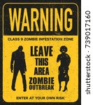 poster zombie outbreak. sign... | Shutterstock .eps vector #739017160