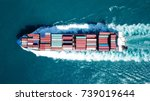 large container ship at sea  ... | Shutterstock . vector #739019644