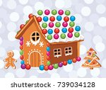 vector xmas card with colorful... | Shutterstock .eps vector #739034128