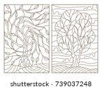 set contour illustrations of... | Shutterstock .eps vector #739037248