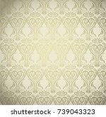 golden damask ornamental... | Shutterstock .eps vector #739043323
