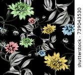 hand drawn seamless pattern... | Shutterstock . vector #739043530