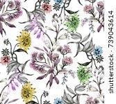 hand drawn seamless pattern... | Shutterstock . vector #739043614