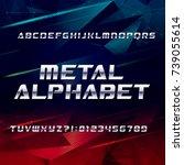 futuristic chrome alphabet font.... | Shutterstock .eps vector #739055614