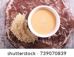 tahini paste   sesame sauce on... | Shutterstock . vector #739070839