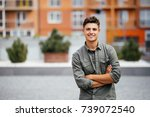 handsome smiling young man... | Shutterstock . vector #739072540
