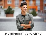 portrait of a trendy young man... | Shutterstock . vector #739072546