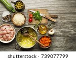 ingredients with chicken and...   Shutterstock . vector #739077799