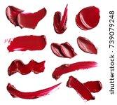 red makeup brushstroke smears... | Shutterstock . vector #739079248