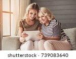 beautiful senior mom and her... | Shutterstock . vector #739083640