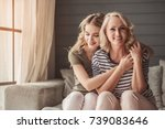 beautiful senior mom and her... | Shutterstock . vector #739083646