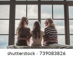 back view of beautiful women... | Shutterstock . vector #739083826