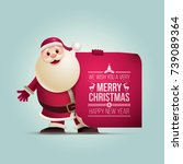 santa claus is showing banner.... | Shutterstock .eps vector #739089364