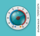 round glass thermometer with a... | Shutterstock .eps vector #739091074