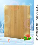 blank wooden board sticking out ... | Shutterstock .eps vector #739091158