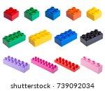 plastic building blocks... | Shutterstock . vector #739092034