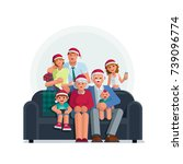 the whole family is together at ... | Shutterstock .eps vector #739096774