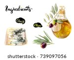 cheese blue  olive and olive...   Shutterstock . vector #739097056
